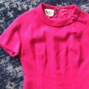Vintage 60s Hot Pink Wool Knit Mod Prep Dress